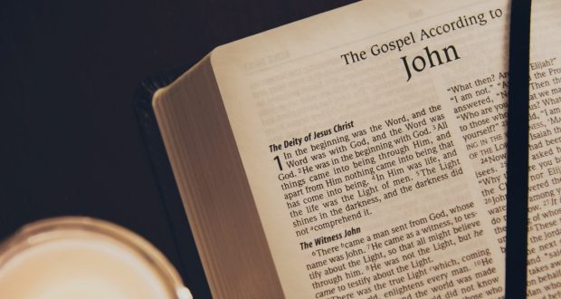 Bible opened to the Gospel of John